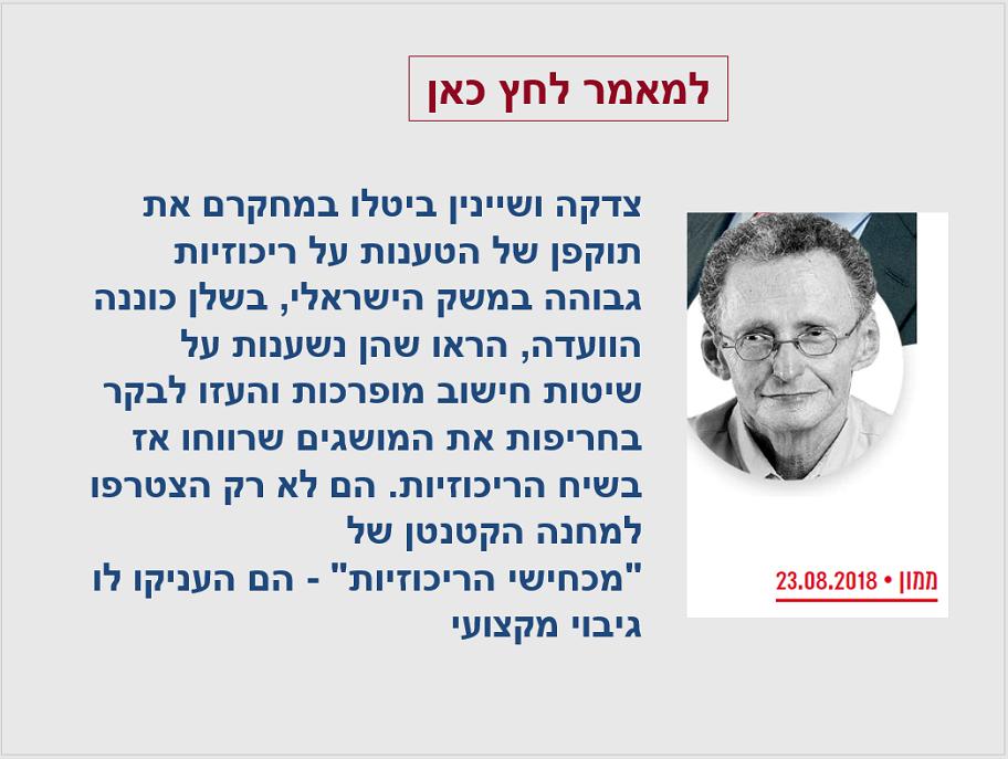 סבר פלוצקר על העדר ריכוזיות עודפת במשק הישראלי
