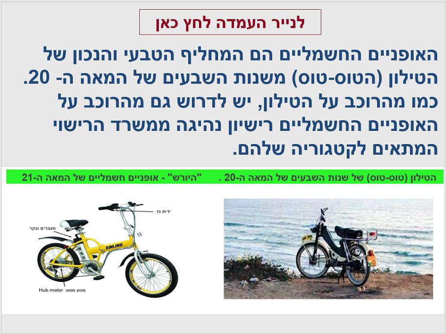 כתבה בנושא האופניים החשמליים